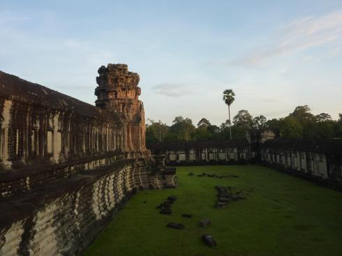 An inner courtyard at Angkor Wat gloriously free of tour groups in the early morning.