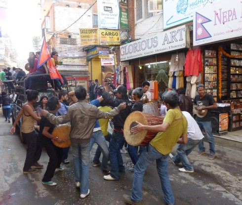 These guys were part of a fairly righteous jam  and dance off in the street during one day of Tihar.