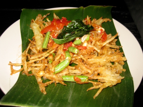 Fried Papaya Salad... not the healthiest of salads.